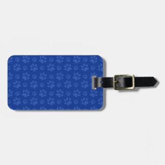 Dark blue dog paw print pattern luggage tag