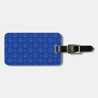 Dark blue dog paw print pattern bag tags