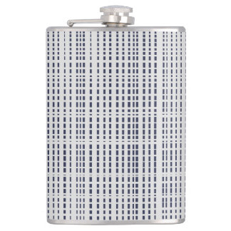 Dark Blue Dotted Lines on light grey Flask