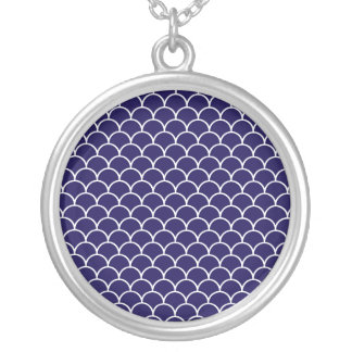 Dark Blue Dragon Scales Silver Plated Necklace