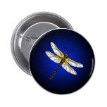 Dark Blue Dragonfly Dragonflies Button
