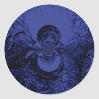Dark Blue Dreams Fractional Classic Round Sticker