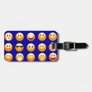 dark blue emojis luggage tag