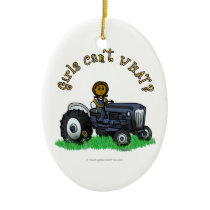 Dark Blue Farmer Girl Ceramic Ornament
