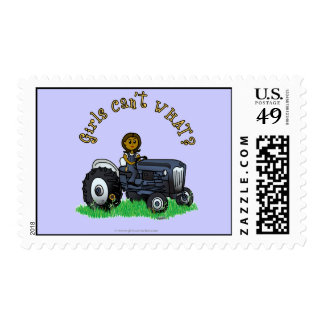 Dark Blue Farmer Girl Postage Stamp