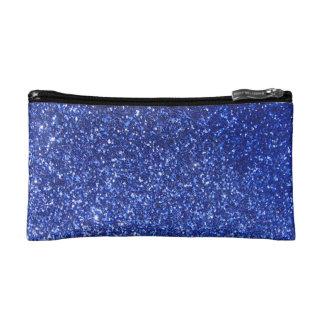Dark blue faux glitter graphic makeup bags
