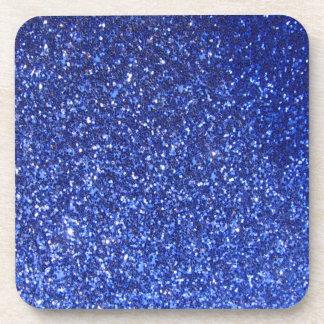 Dark blue faux glitter graphic coaster