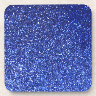 Dark blue faux glitter graphic drink coasters