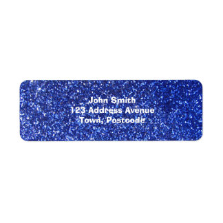 Dark blue faux glitter graphic label