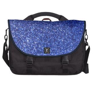 Dark blue faux glitter graphic laptop bags