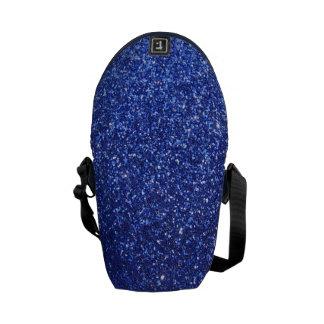 Dark blue faux glitter graphic messenger bag