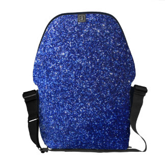 Dark blue faux glitter graphic courier bags
