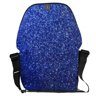 Dark blue faux glitter graphic messenger bags