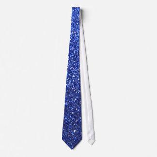Dark blue faux glitter graphic neck tie