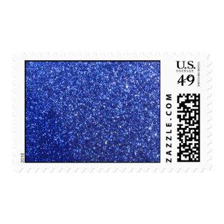 Dark blue faux glitter graphic postage