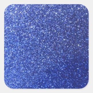Dark blue faux glitter graphic square sticker