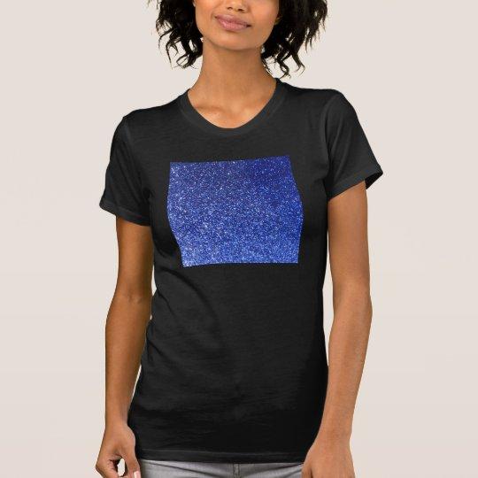 Dark blue faux glitter graphic T-Shirt