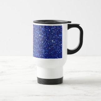 Dark blue faux glitter graphic travel mug