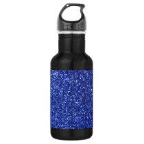Dark blue faux glitter graphic water bottle