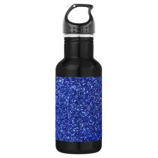 Dark blue faux glitter graphic water bottle