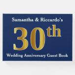 [ Thumbnail: Dark Blue + Faux Gold 30th Wedding Anniversary Guest Book ]