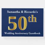 [ Thumbnail: Dark Blue + Faux Gold 50th Wedding Anniversary Guest Book ]