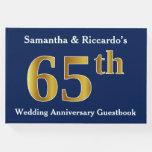 [ Thumbnail: Dark Blue + Faux Gold 65th Wedding Anniversary Guest Book ]