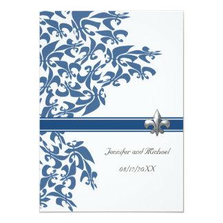 "Dark Blue Fleur de Lis Design Wedding Invite 5"" X 7"" Invitation Card"