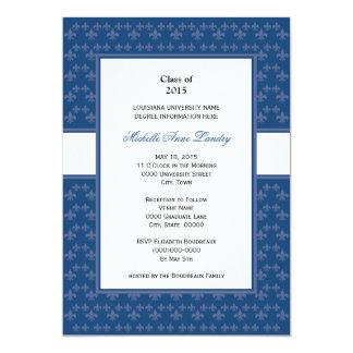 Dark Blue Fleur de Lis Graduation Personalized Invite