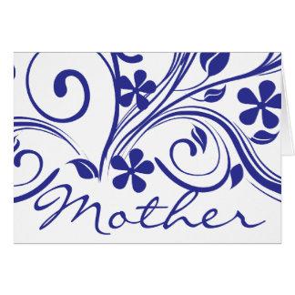 Dark Blue Flowers Swirls Mother's Day Card