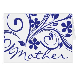 Dark Blue Flowers Swirls Mother's Day Greeting Card