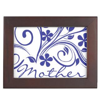 Dark Blue Flowers Swirls Mother's Day Keepsake Box