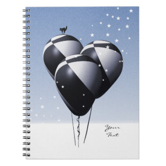 Dark Blue Football Balloons Notebook