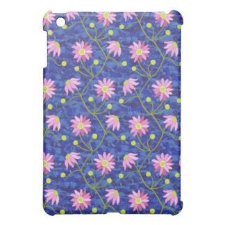 Dark Blue for with Pink Anemones iPad Mini Covers