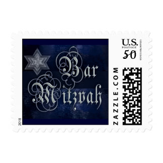 Dark Blue Formal Bar Mitzvah Postage Stamp
