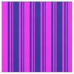 [ Thumbnail: Dark Blue & Fuchsia Lines Pattern Fabric ]
