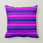 [ Thumbnail: Dark Blue & Fuchsia Lines Pattern Throw Pillow ]