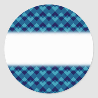 Dark Blue Geometric Pattern. Classic Round Sticker