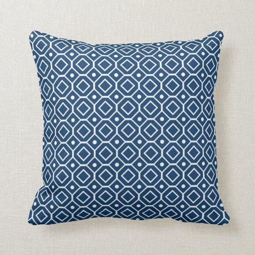 Dark Blue Geometric Pattern Decorative Pillow Zazzle