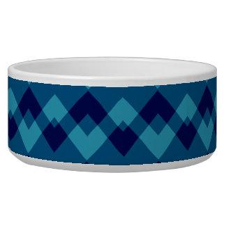 Dark Blue Geometric Pattern. Pet Water Bowls