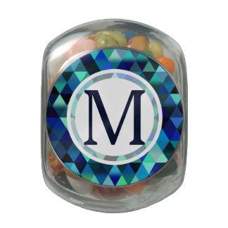 Dark Blue Geometric Triangle Pattern Glass Candy Jars