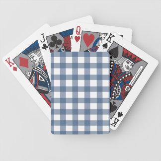 Dark Blue Gingham Bicycle Playing Cards