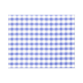 Dark blue gingham pattern stretched canvas prints