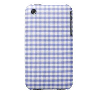 Dark blue gingham pattern iPhone 3 case
