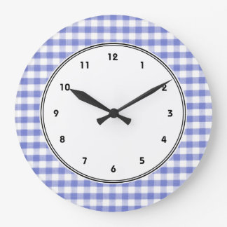 Dark blue gingham pattern wall clock