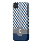Dark Blue Gingham Pattern Custom Monogram iPhone 4 Cover