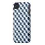 Dark Blue Gingham Pattern iPhone 4 Cases