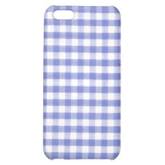 Dark blue gingham pattern iPhone 5C covers