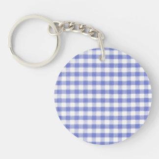 Dark blue gingham pattern keychain