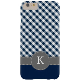 Dark Blue Gingham Pattern Monogram Barely There iPhone 6 Plus Case